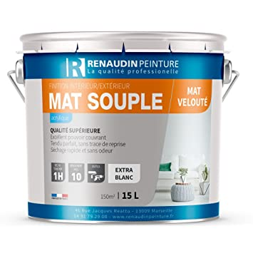 Renaudin Peinture 130107 Mat Souple Peinture Acrylique Mur/plafond  Intérieur Finition Mat Blanc 15 L