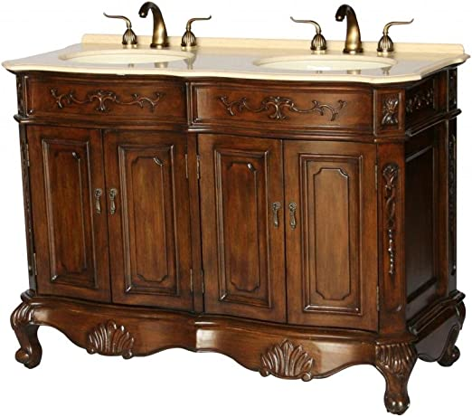 Amazon Com Chinese Arts Inc 50 Inch Antique Style Double Sink Bathroom Vanity Model 5000 Be Home Kitchen