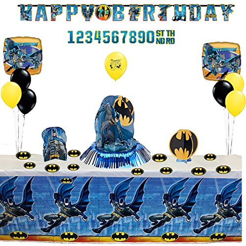 Combined Brands Batman Birthday Party Banner, Table and Balloon Decoration Kit