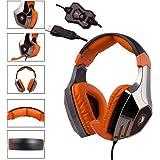 Sades A60 7.1 Surround Sound Stereo Pro PC USB Gaming Headset fascia delle cuffie con microfono ad alta sensibilità Over-the-Ear Vibration Control Function Volume (Nero Arancione Galvanotecnica Version)