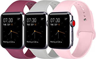 ATUP Compatible Apple Watch Band 38mm 40mm 42mm 44mm Women Men, Soft Silicone Replacement Bands Strap for iWatch Apple...