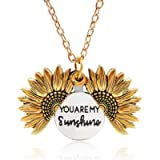 Sunflower Necklace Locket You are My Sunshine Engraved Pendant Necklace for Women Girls Birthday Valentines