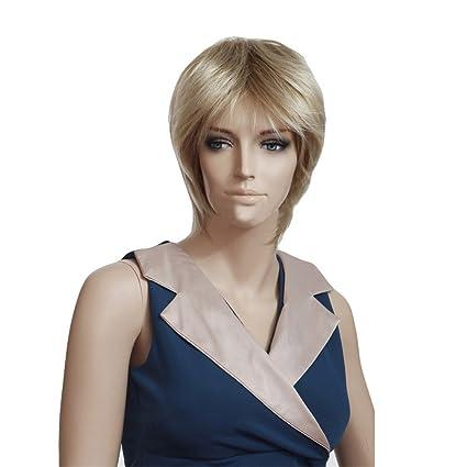 troadzwig Rubio Ultrashort recta mullido pelo natural pelucas para las mujeres sintético fibra kanekalon Cable de