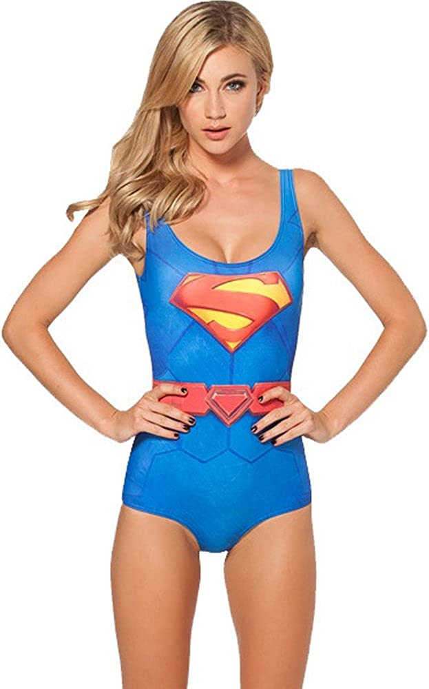 Petite Ladies Supergirl Leotard Cartoon Character Swimsuit Costume 8 10 12