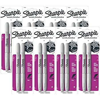 Sharpie Permanent Markers, Fine Point, Metallic Silver, 16 Markers