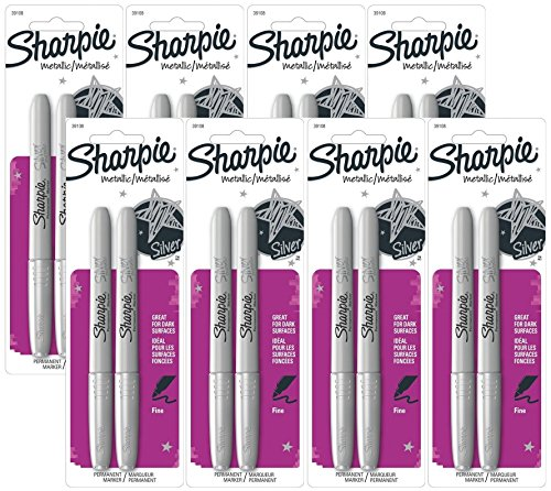 Sharpie 39108PP Fine Point Metallic Silver Permanent Marker, 8 Blister Packs with 2 Markers each for A Total of 16 Markers ()