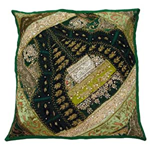 """Patchwork Green Cushion Case Ethnic Embroidered Home Décor Pillow Cover Handmade Throw Gift Art 17"""" Inches"""