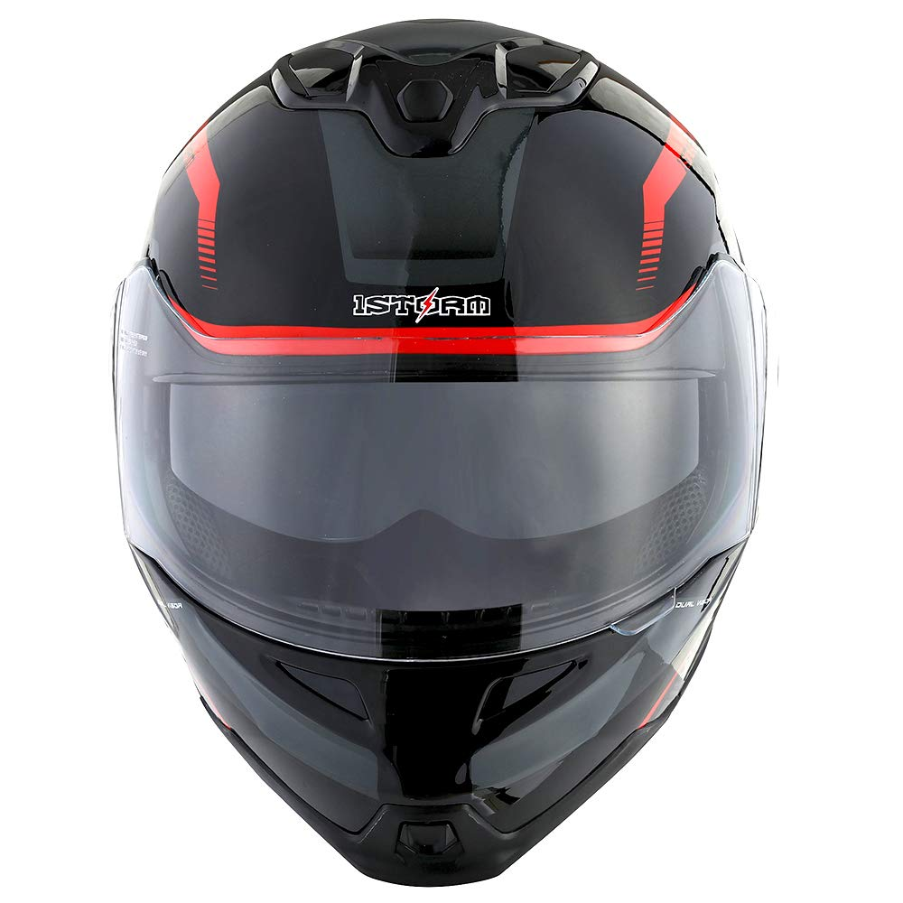 1Storm Motorcycle Street Bike Modular/Flip up Dual Visor/Sun Shield Full Face Helmet Storm Tron Red by 1Storm (Image #3)