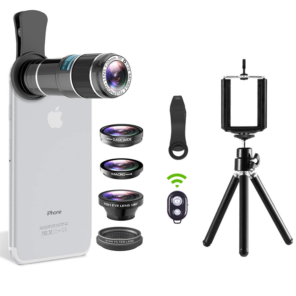 Cell Phone Camera Lens, 5 in 1 Telephoto Lens Kit, 12x Telephoto Lens+Fisheye Lens+0.65x Wide Angle Lens+Macro Lens+Star Filter Lens, Tripod+Remote Shutter for iPhone x 8 7 6S plus, Samsung Smartphone