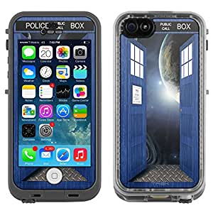 Skin Decal for LifeProof Apple iPhone 5C Case - British Blue Police Box Open Doors to Space