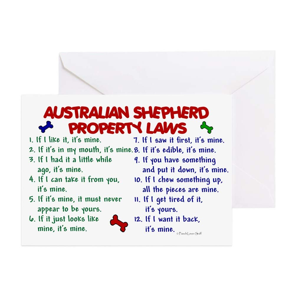 Amazon CafePress Australian Shepherd Property Laws 2 Greeting Card Note Birthday Blank Inside Matte Office Products