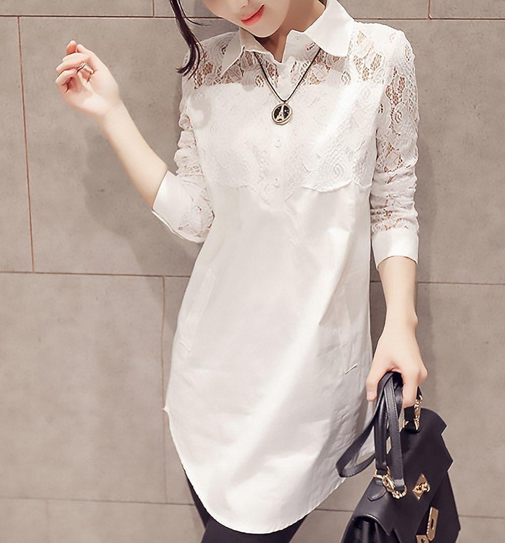 a105b3c0eb4e Camicia Donna Elegante Bianco in Pizzo Maniche Lunghe Risvolto con Bottoni  Vintage Moda Casual Lunghi Camicetta Bluse Top Ragazza Abbigliamento:  Amazon.it: ...