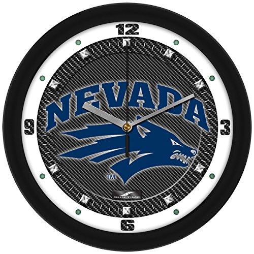 (SunTime NCAA Nevada Wolfpack Textured Carbon Fiber Wall Clock)