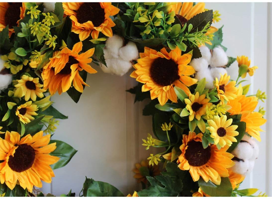 HEBE 16 Inch Artificial Sunflower Door Wreath Fake Floral Yellow Sunflower Wreath for Front Door Indoor Outdoor Wall Wedding KitchenD/écor All Seasons