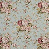 Aqua Teal Dark Green Light Blue Pink Rose Country Lodge Cabin Floral Foliage Heirloom Vintage Linen Silk Looks Print Upholstery Fabric by the yard