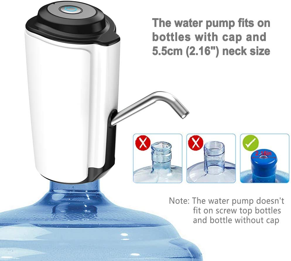 Water Bottle Pump Portable Water Dispenser Electric Water Jug Pump with USB Charging For 2-5 Gallon Bottle in Kitchen//Home//Office Using