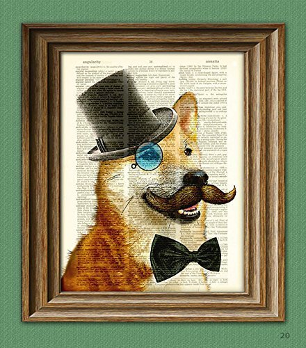 Such Dapper! Much Dandy! Shiba Inu dog with mustache monocle and top hat doge upcycled Dictionary Page book art print