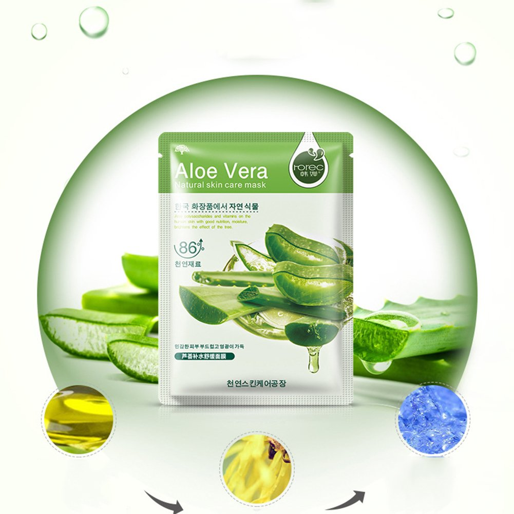 Face Mask Moisturisingmolie Facial Skin Smooth Deep Moisturizing Rorec Sheet Olive 10pcs Aloe Beauty