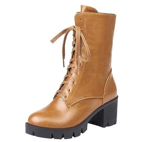 Hooh Mujer Botas de Tobillo Cremallera Cordones Tacones de Bloque Botas de Nieve Invierno Forrada Suave cálido y cómodo Botines Plataforma Zapatos: ...