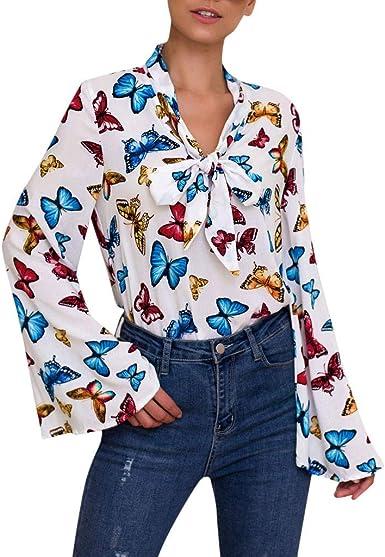 Blusas Casual Mujer Blusas Mangas Largas con Lazo Camisetas con Estampado Mariposa Elegante Otoño Invierno Camisa Tops Shirt Originales para Fiesta Oficina Trabajo RISTHY: Amazon.es: Ropa y accesorios