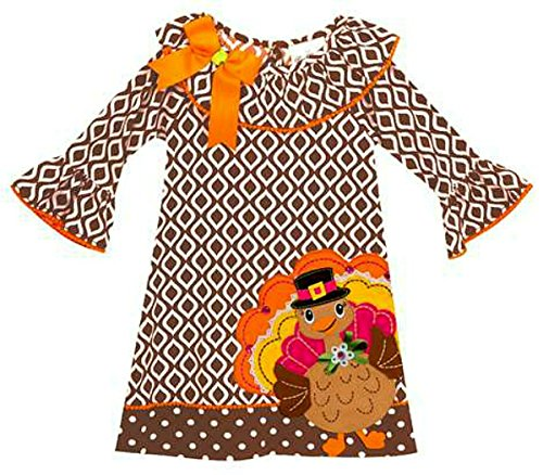 Girls Diamond Thanksgiving Turkey Dress (5) - Thanksgiving Dress