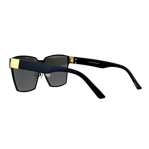 796ab6b6ec8 Amazon.com  SA106 Diva Oversize Mob Rectangular Mafia Mirror Lens  Sunglasses Black Mirror  Clothing