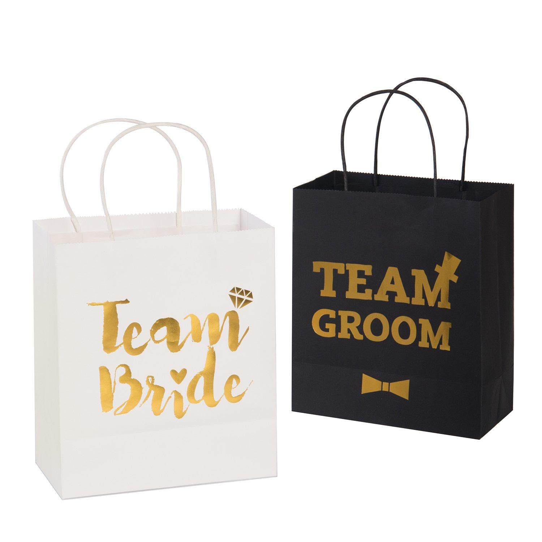 Ling's Moment Wedding Party Gift Bag Assortment - 6 Bridesmaid 6 Groomsmen Gift Bags Kraft Paper Gold Foiled Team Bride Team Groom