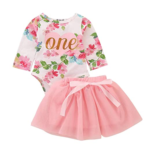 c9cdd4d9 Baby Girl 2pcs Skirt Set Clothes 1st Birthday Outfit Floral Sleeveless  Romper Lace Tutu Dress (