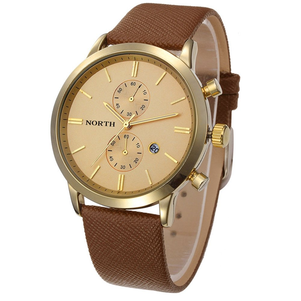 Men's Quartz Watch On Sale,Clearance Men's Waterproof Date Watch,Wugeshangmao Boy's Fashion Retro Design Analog Sport Wrist Watch Casual Watches Gift,Round Dial Case Leather Band Watches Gift