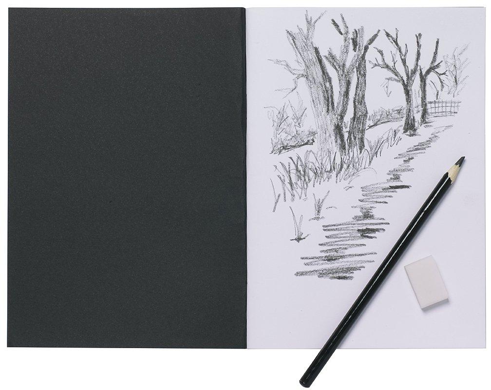 5 x A5 Artist Sketch Books White Cartridge Paper Black Card Cover Art Pads