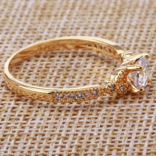 YAZILIND Gold Plated Round Cubic Zirconia Ladies Wedding Band Anniversary Ring by YAZILIND (Image #2)