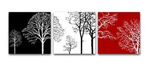 Wieco Art Colorful Tree 3 Panels Contemporary Canvas Prints Wall Art Flower Pictures Photo Paintings for Bedroom Bathroom Home Decorations Modern Stretched and Framed Abstract Floral Giclee Artwork