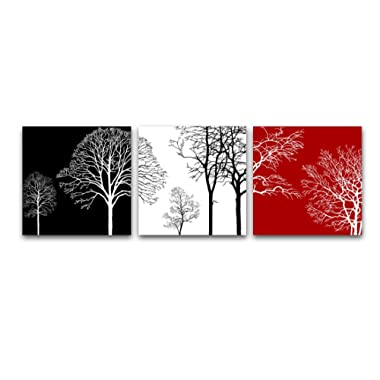 Wieco Art Floral Giclee Canvas Prints Wall Art Paintings for Wall Decor Living Room Kitchen Large Colorful Tree Modern 3 Pcs Gallery Wrapped Contemporary Abstract Flowers Pictures Photo Artwork