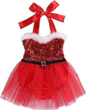 Baby Toddler Infant Kid Girl Christmas Santa Princess Dress Outfits Xmas Clothes