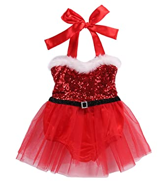 469a274f630b Amazon.com  Hotone Newborn Baby Girl Rompers Santa Claus Jumpsuit ...