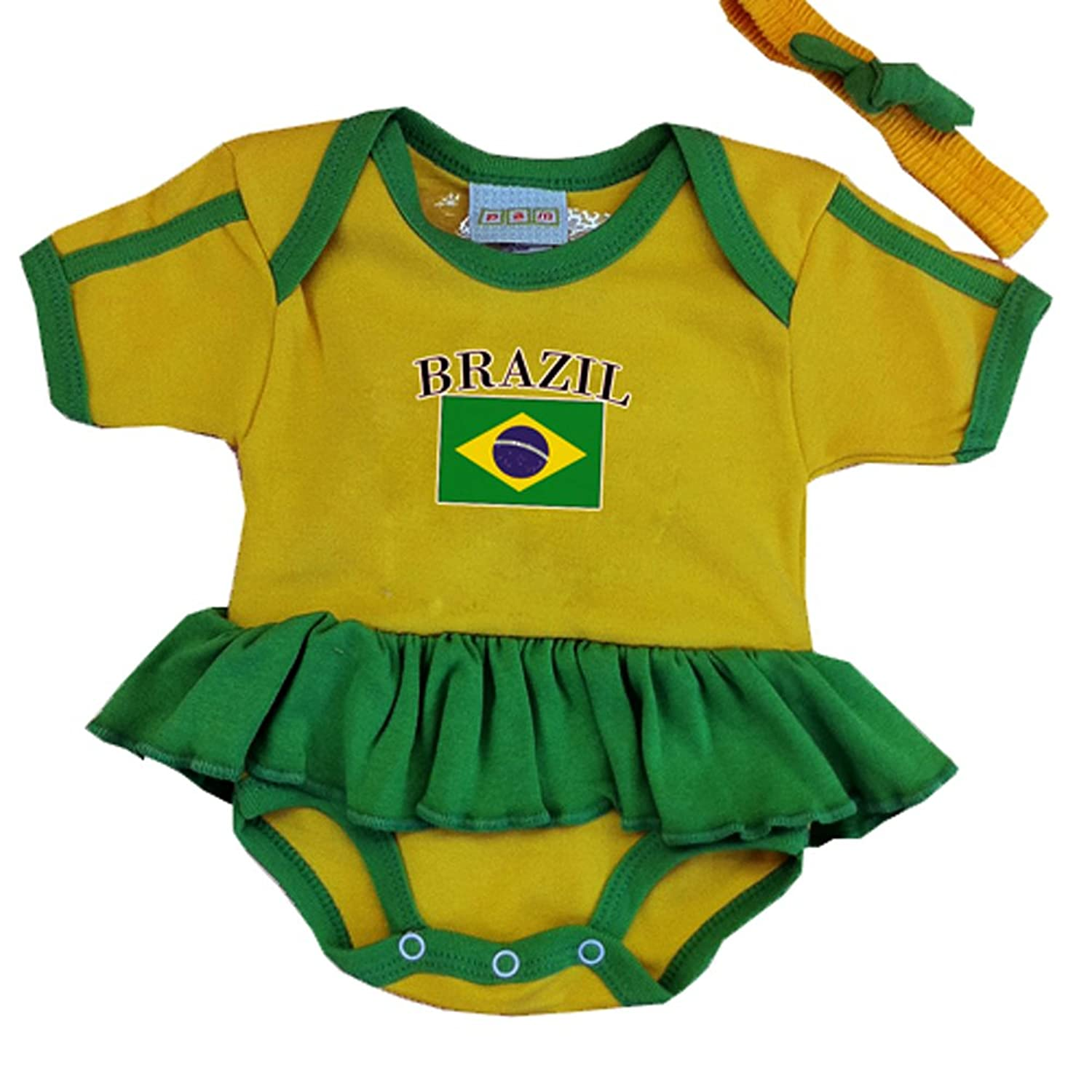 Amazon PAM GM Brazil Baby Girl Soccer Ruffle Bodysuit Infant