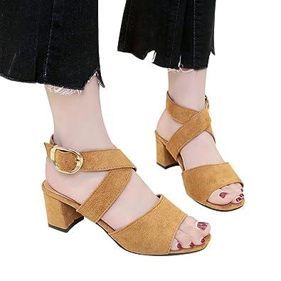 Honestyi Sandalen??Frauen Fisch Mund High Heels Keil Dick mit Sandalen Schnalle Slope Sandalen Damen Funkelnden