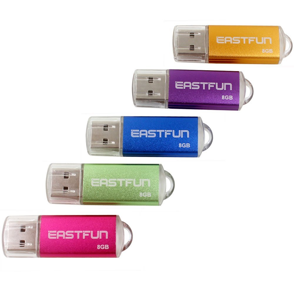 EASTFUN 5Pcs 8GB USB Flash Drive USB 2.0 Flash Memory Stick Thumb Stick Pen(Five Mixed Colors: Blue Purple Rose Green Gold)
