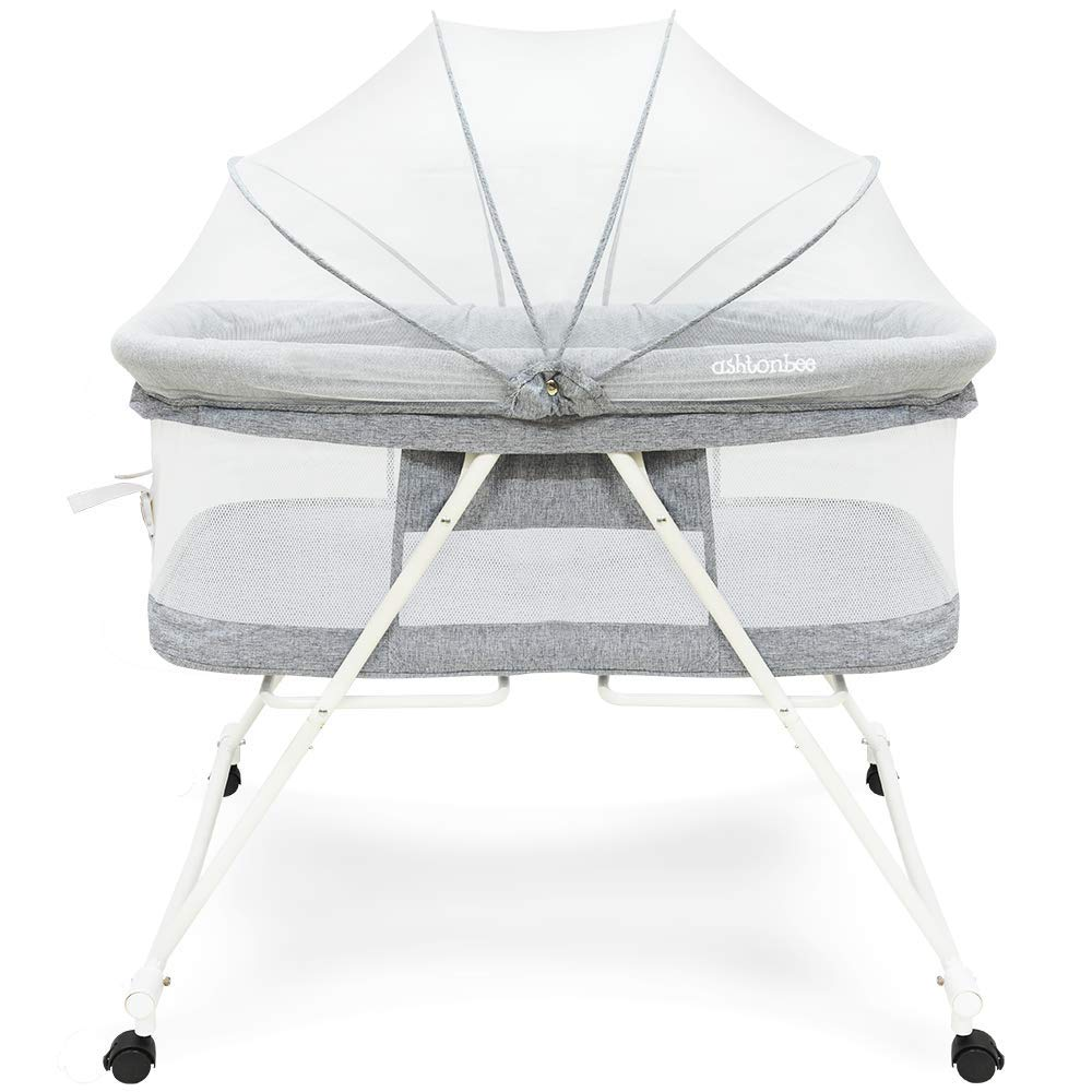 Portable Baby Bassinet - Foldable Crib for Newborns, Travel Bassinet with Removable Tent by Ashtonbee