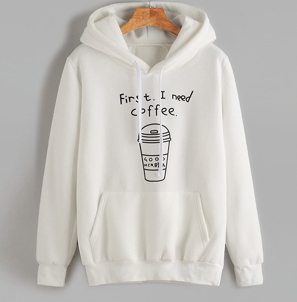 Sweatshirt Kinghard First I Need Coffee Women Pullovers Women Casual Long Sleeve Hoodies Short Blouses Tops
