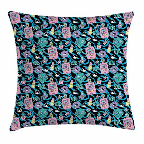 Yin Yang Throw Pillow Cushion Cover, Nineties Kids Toys in Abstract Environment Digital Pet Nail Polish Lipstick Motif, Decorative Square Accent Pillow Case, 18 X 18 Inches, Multicolor ()