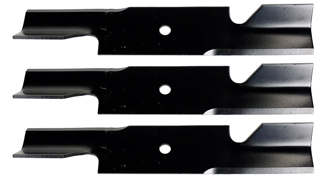 USA Mower Blades U11185BP (3) Extra High-Lift for Simplicity 5021227ASM Scag 482878 A48108 Length 18in. Width 3in. Thickness .200in. Center Hole 5/8in. 36in. 52in. Deck