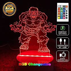 3D Optical Illusion Hulk Panel Model Lighting Night 7 Color Change USB Touch button LED Desk Table Light Lamp