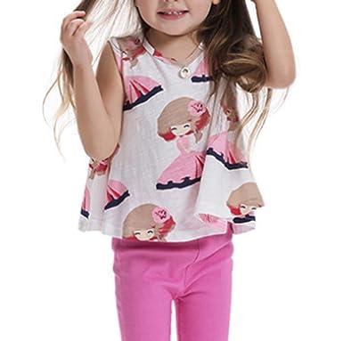744521fd7ea5e Bigood Vogue Imprimé Fille Top sans Manche Lâche Mingon Casual T-Shirt  Blanc Size 100
