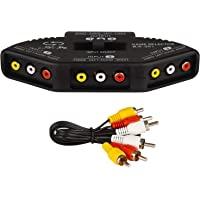Rybozen RCA Splitter with 3-Input and 1-Output, Audio and Video RCA Switch Box with Cable for Connecting 3 RCA Signal Devices to 1 Monitor