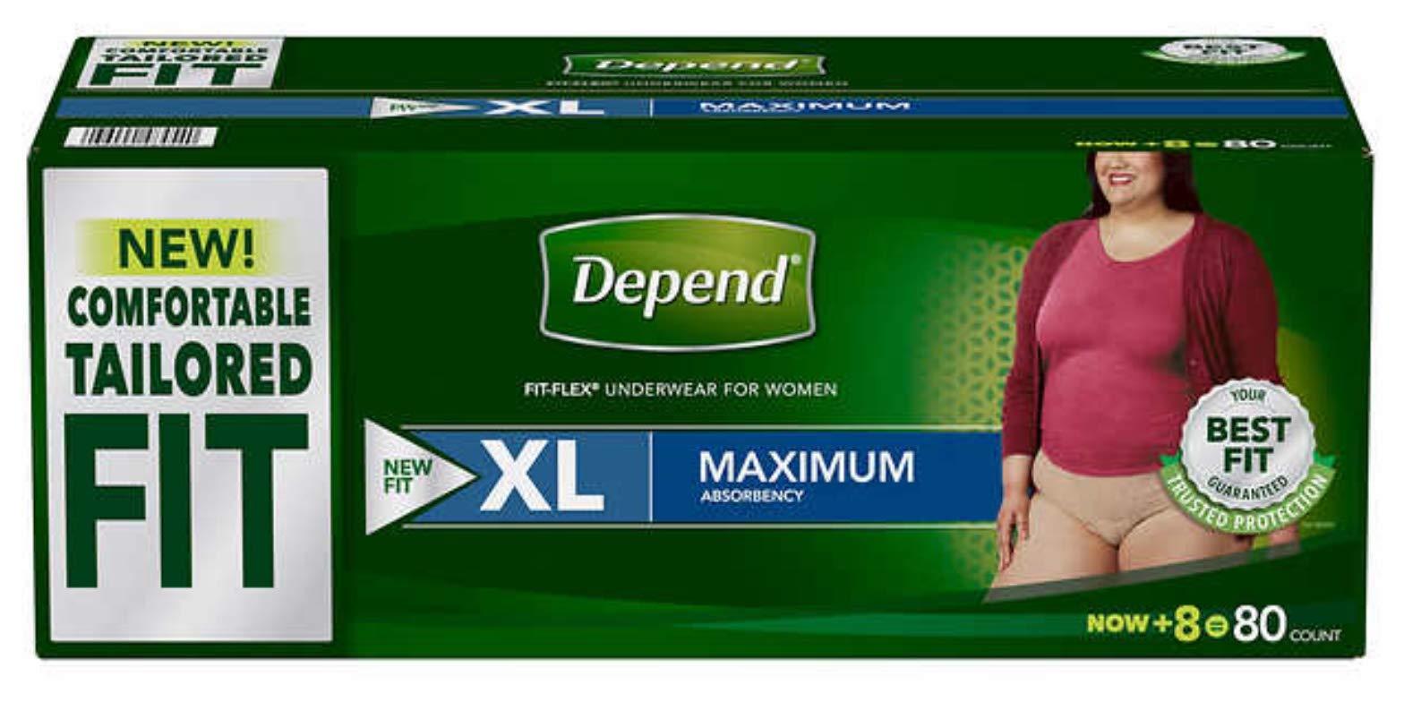 Depend FIT-Flex Incontinence Underwear for Women, Maximum Aobsorbency, XL ;Tan, 80 Count