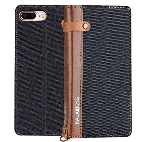 MXNET IPhone 7 Plus Case, Leinen Leder + TPU Horizontale Flip Leder Tasche mit Card Slots & Halter & Lanyard CASE FÜR IPHONE 7 PLUS ( Color : Black )