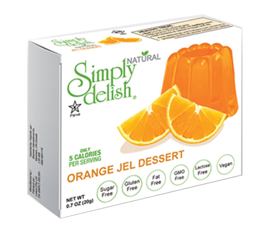 Simply delish Natural Orange Jel Dessert, Sugar free, 0.7 oz., 24-6 packs – Fat Free, Gluten Free, Lactose Free, Non GMO, Kosher, Halal, Dairy Free, Natural