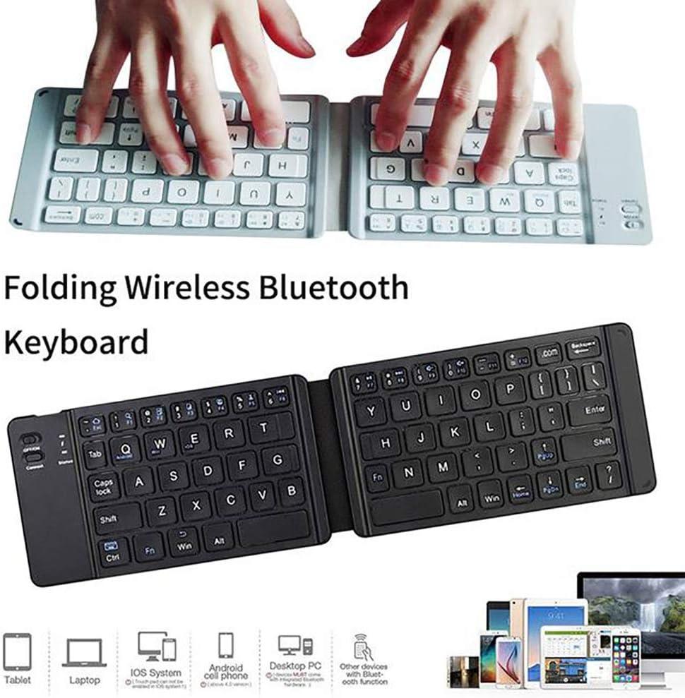 AZLMJXH Bluetooth Keyboard Light and Handy Bluetooth 3.0 Folding Keyboard Foldable BT Wireless Keypad for Phone Laptop Gaming Keyboard,Black