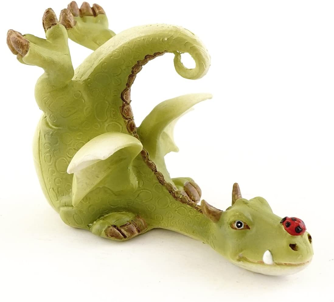 Top Collection Miniature Fairy Garden and Terrarium Green Dragon Playing with Ladybug Figurine